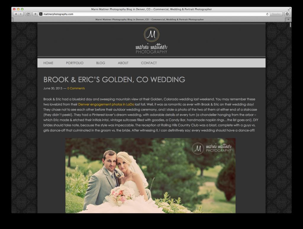 Mattner Photography website design