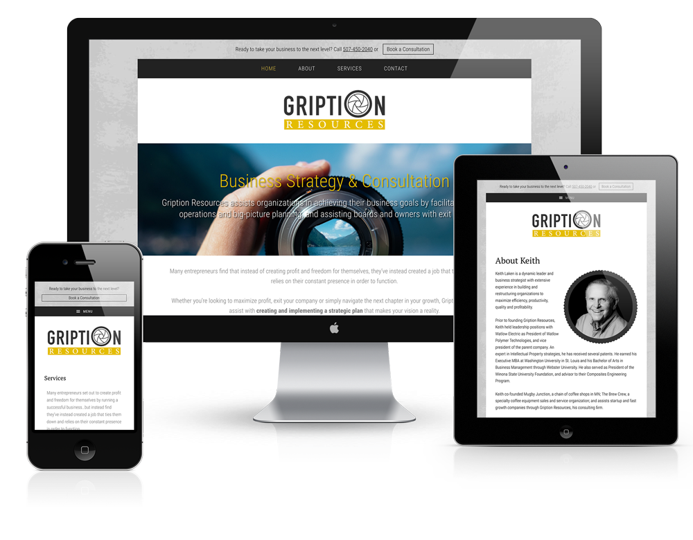Gription Resources mobile responsive website design